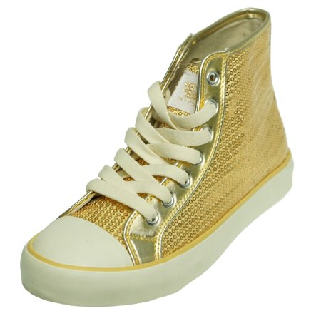 Gotta Flurt Girls Dance Sequin High Top Hidisco Fashion Sneakers - Gold Sequin Shoes For Girls