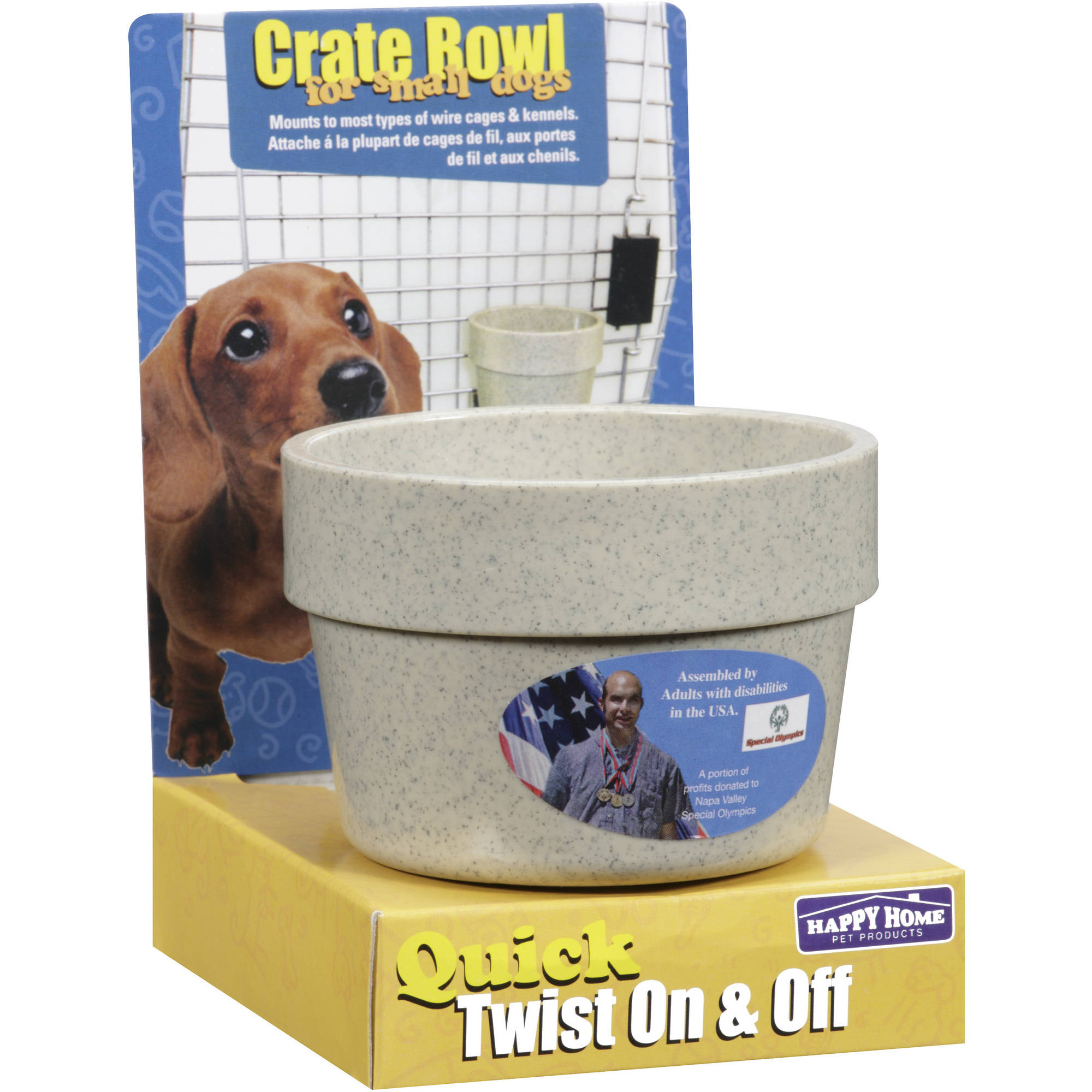 Happy Home Pet Products Dog Crate Bowl For Small Dogs, 1ct