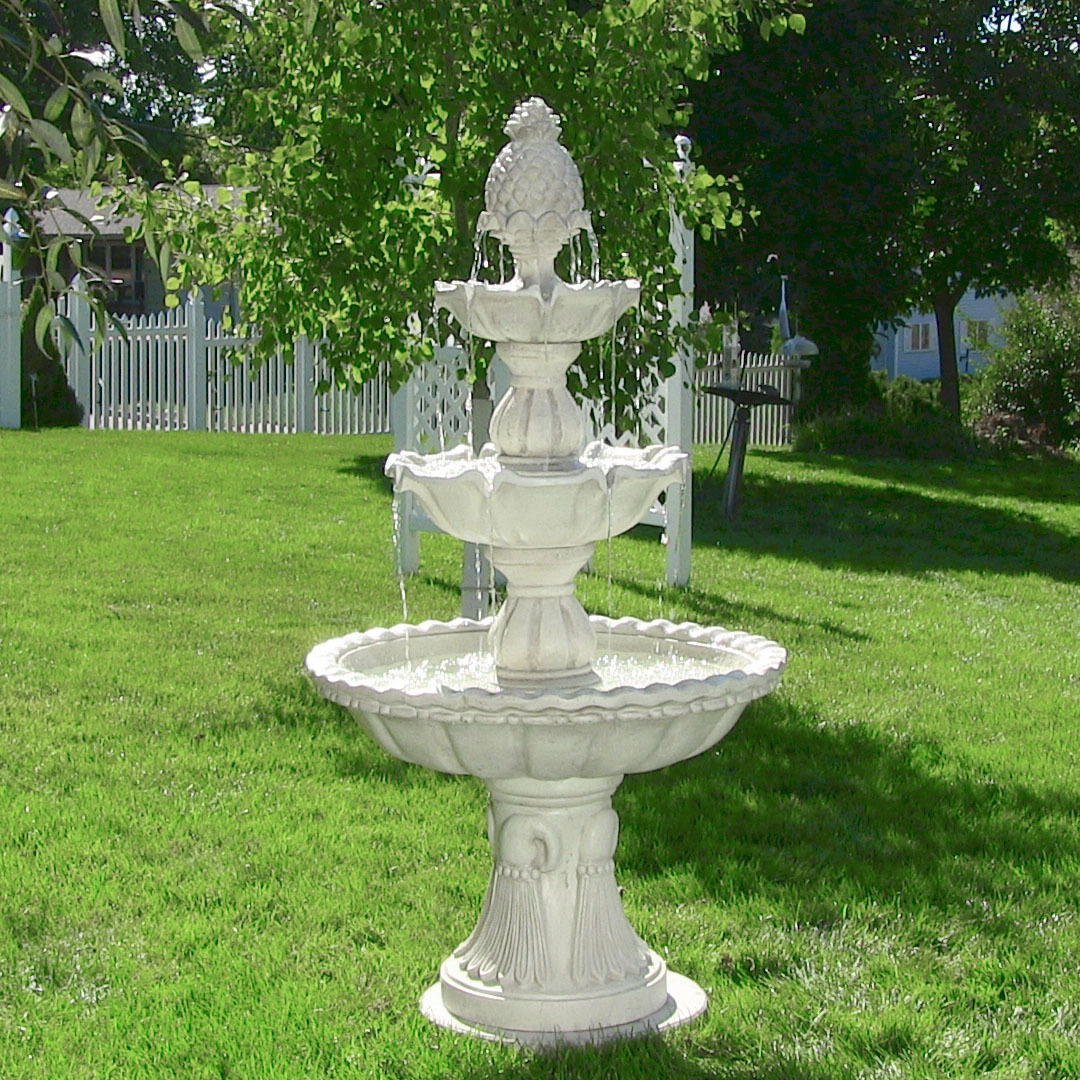 Sunnydaze Welcome 3 Tier Garden Fountain, Large Outdoor Patio Water Feature,  59 Inch