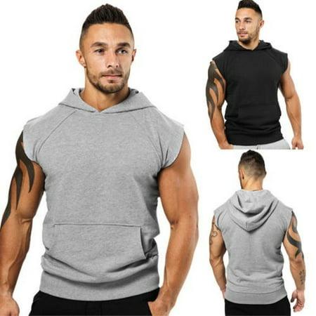 New Fashion Men's Sleeveless Hoodie Hooded Sweatshirt Sport Gym Sweats Tops Shirts Vest (Sleeveless Hoodie Gym)