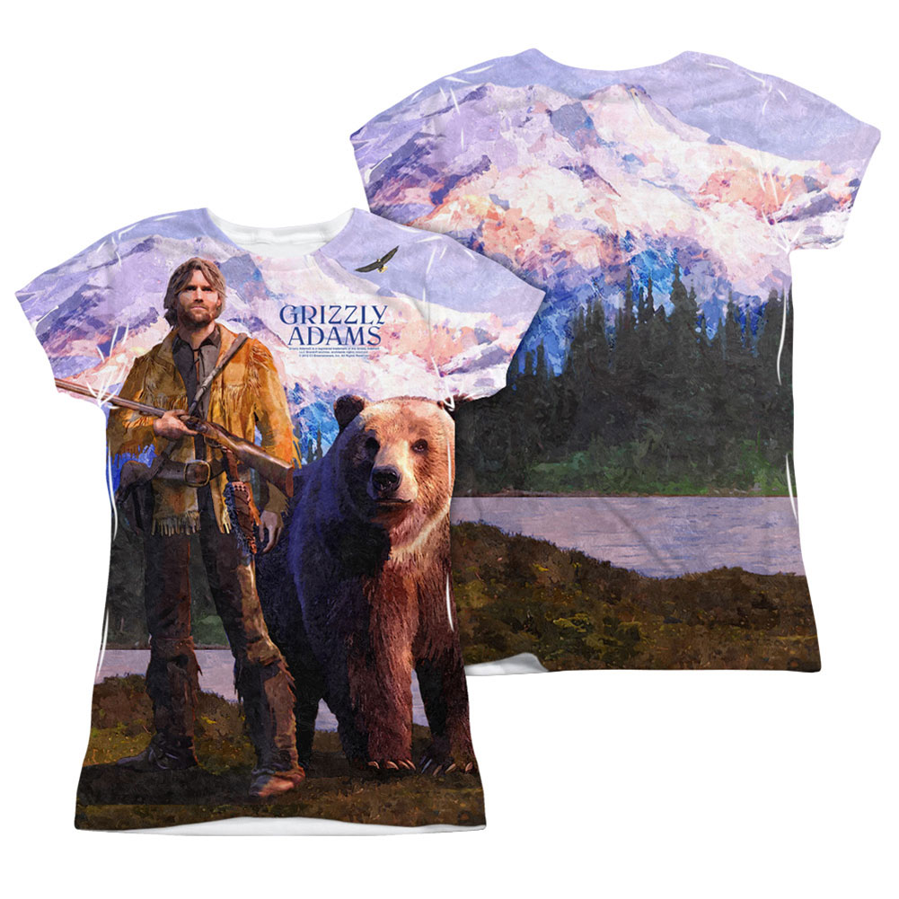Grizzly Adams  Man And Bear  Girls Jr Sublimation White