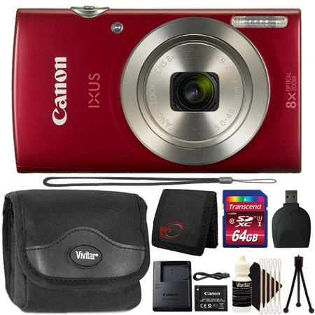 Canon Powershot Ixus 185 / ELPH 180 20MP Compact Digital Camera Red with 64GB Accessory