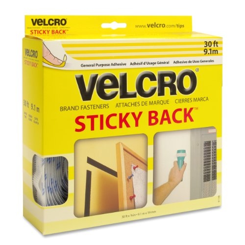 "Velcro Sticky Back Hook And Loop Fastener - 0.75"" Width X 30 Ft Length - Dispenser Yes - 1 / Roll - White (VEK91138)"