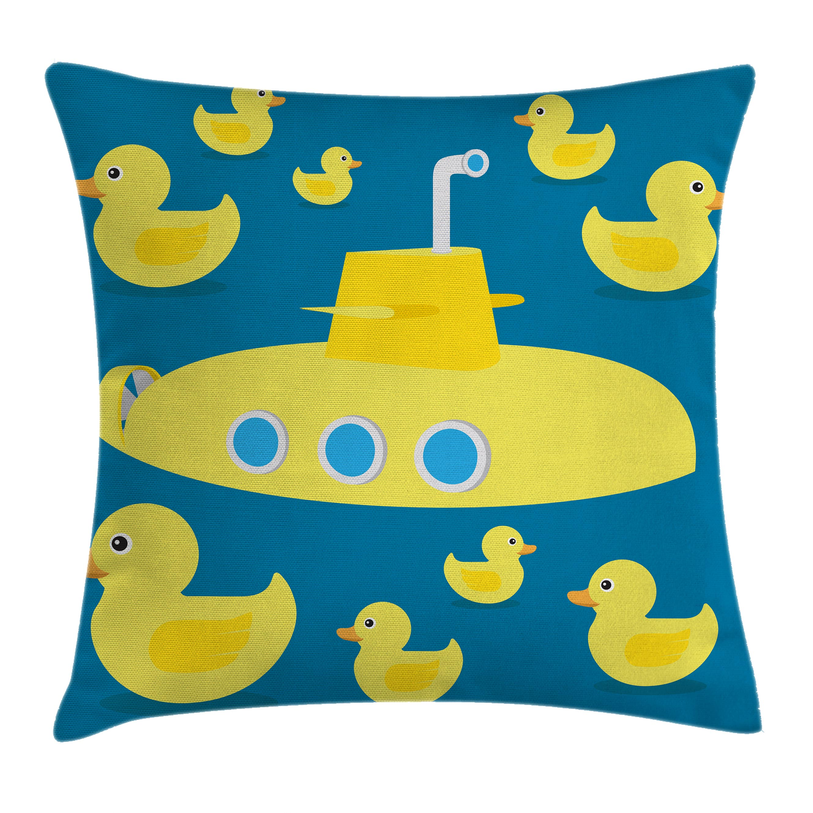 Rubber Duck Throw Pillow Cushion Cover, Duckies Swimming in the Sea with a Yellow Submarine Kids Party Nautical Print, Decorative Square Accent Pillow Case, 16 X 16 Inches, Navy Blue, by Ambesonne