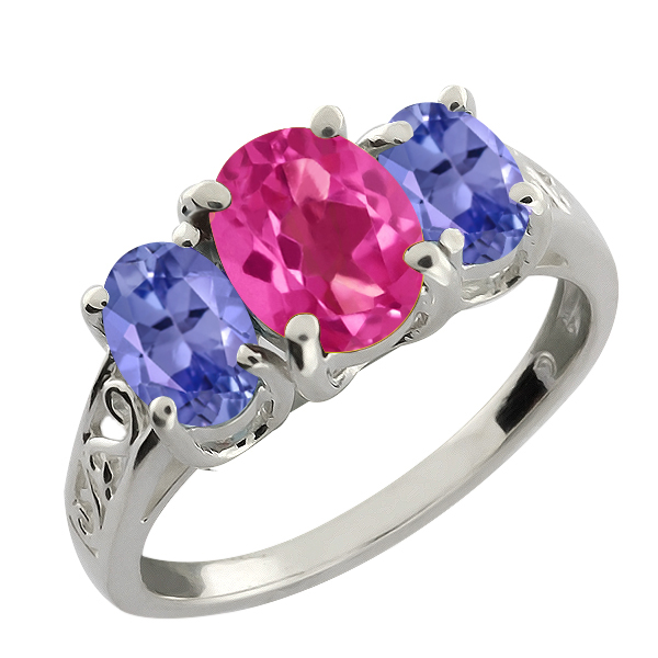 2.65 Ct Oval Blue Tanzanite and Pink Mystic Topaz 18k White Gold Ring by