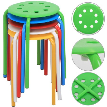Yaheetech Set of 5 Round Plastic Stacking Stools Blue/Green/Red/White/Yellow Nesting Bar Stools Set ()