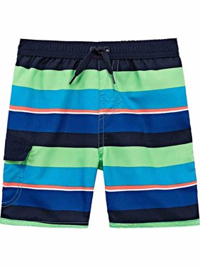 1f020377805c Product Image Toddler Boys Blue Green & Orange Striped Swim Trunks With  Pocket Board Shorts