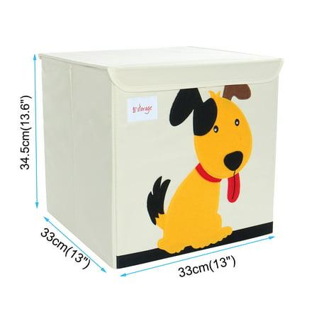 "Foldable Cartoon Storage Bins Toy Box Cube Baskets Yellow Puppy Pattern Lid 13""x13""x13.6"" - image 3 of 8"