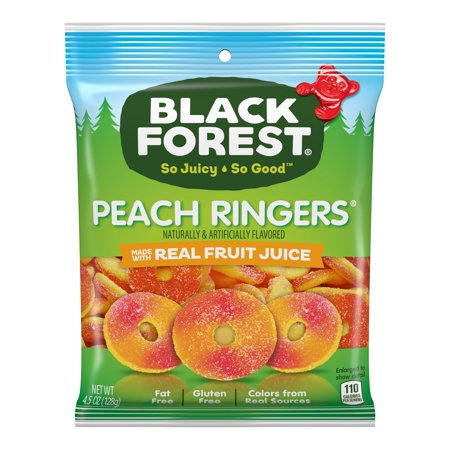 Black Forest, Fat Free, Gluten Free, Peach Ringers Gummy Candy, 4.25 oz