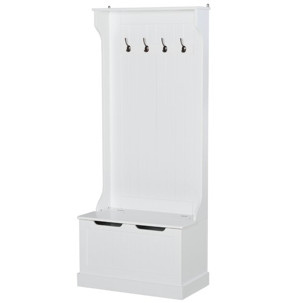 HOMCOM 3-In-1 Entryway Hall Tree with Storage Bench Coat Racks 4 Hooks Wooden Seat Space Saving Simple Robust White