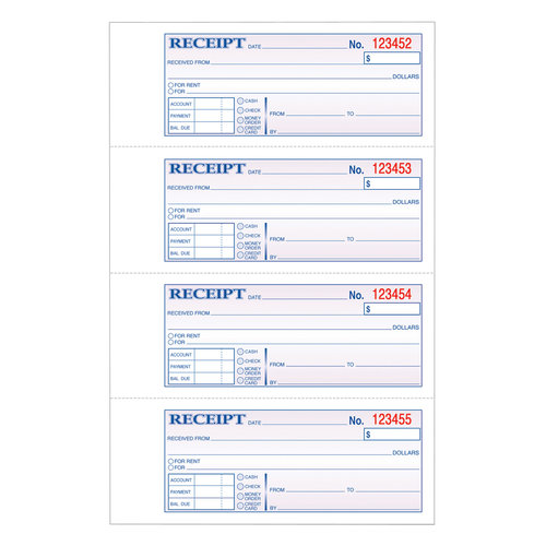 Adams 2-Part Carbonless Money/Rent Receipt Book