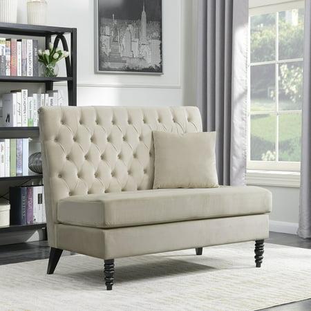 belleze beige modern loveseat bench sofa tufted settee high back love seat bedroom velvet. Black Bedroom Furniture Sets. Home Design Ideas