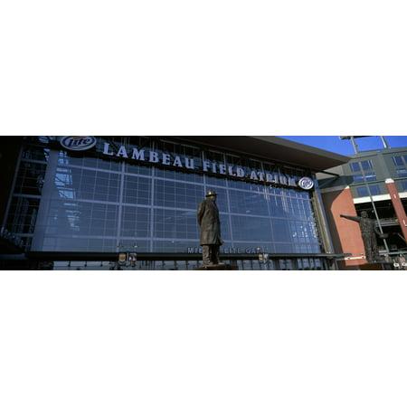 Statue outside a stadium Lambeau Field Green Bay Wisconsin USA Canvas Art - Panoramic Images (27 x -