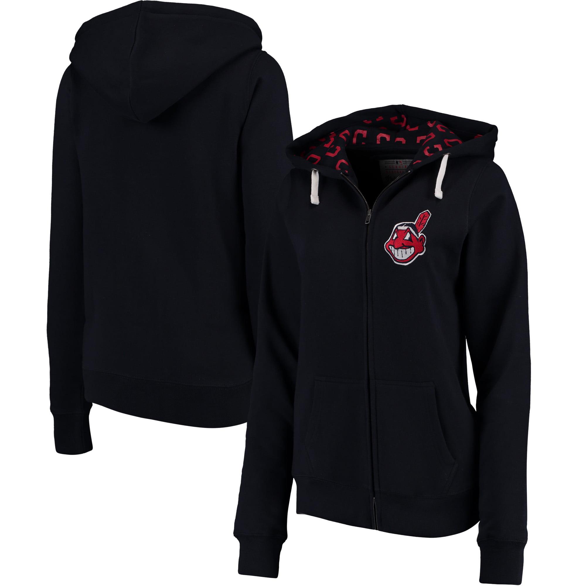 Cleveland Indians Soft as a Grape Women's Line Drive Full-Zip Hoodie - Navy