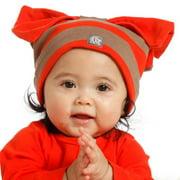 Baby Girls Geranium Red Choco Stripe Bow Hat 3-24M