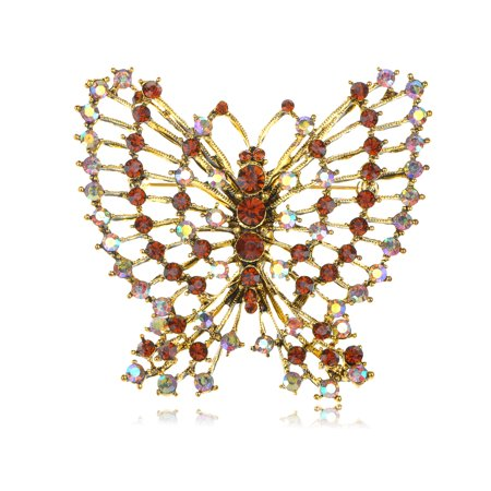 Topaz Crystal Rhinestone Outline Antique Inspired Flying Butterfly Pin Brooch