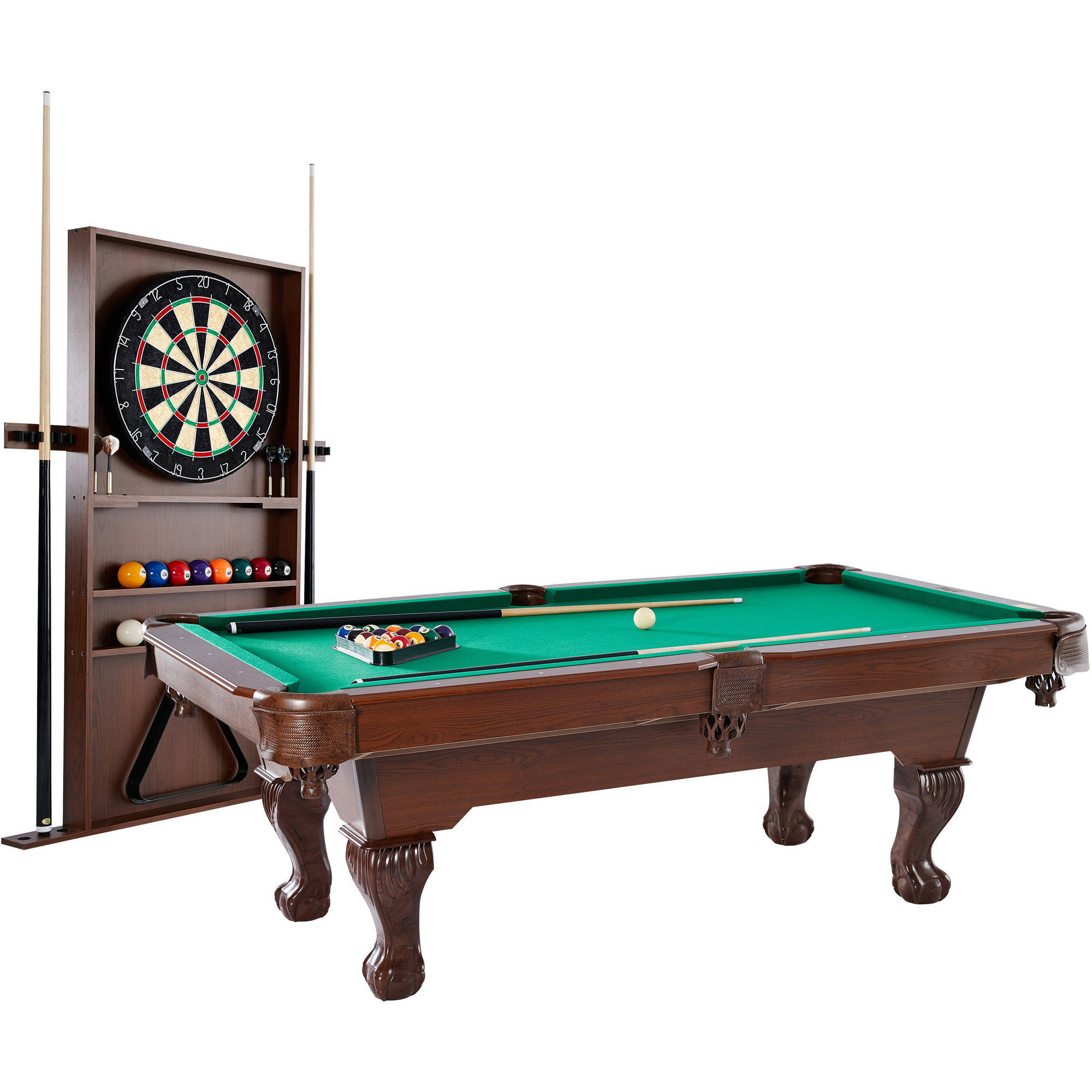 Barrington 90 Inch Ball and Claw Leg Billiard Pool Table with Bonus Cue Rack and Dartboard Set