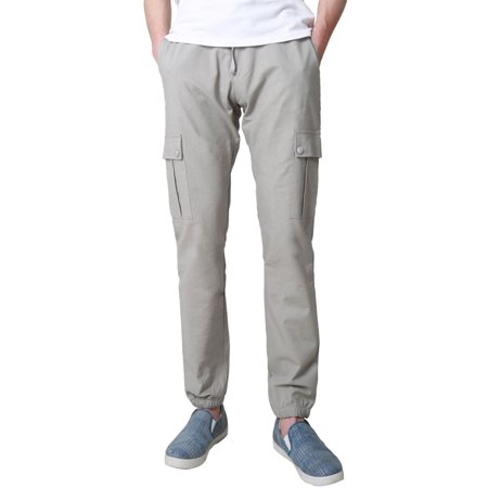 better price online sale get new Men Basic Slim Fit Pocket Zipper Drawstring Tapered Joggers Cargo Pants  Gray S