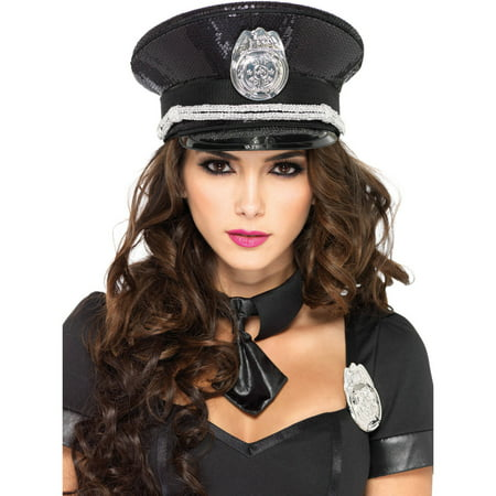 Leg Avenue Sequin Cop Hat Adult Halloween Costume Accessory - Chop Chop Halloween Costume