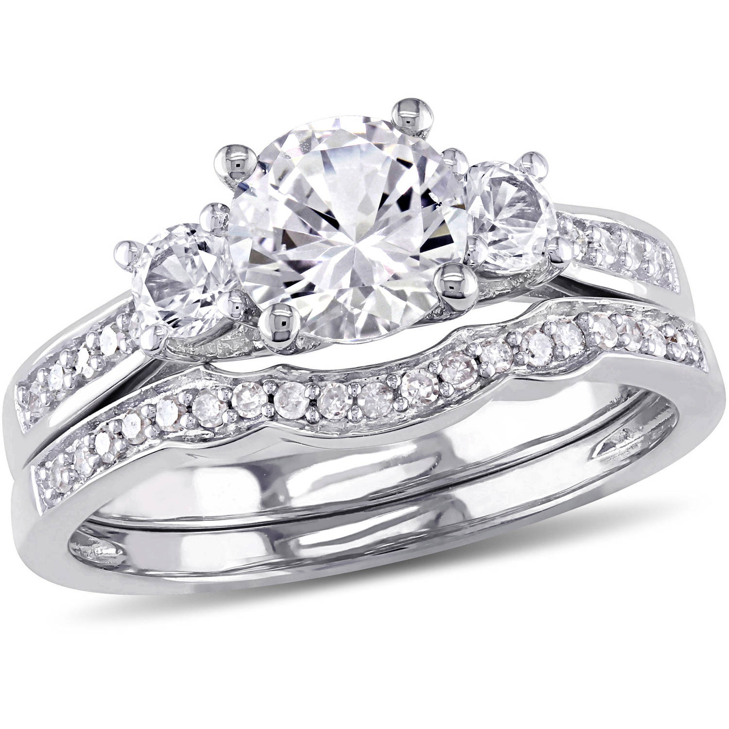 Miabella 1-1 3 Carat T.G.W. Created White Sapphire with 1 7 Carat T.W. Diamond 10kt White Gold Three-Stone Bridal Set by Delmar Manufacturing LLC