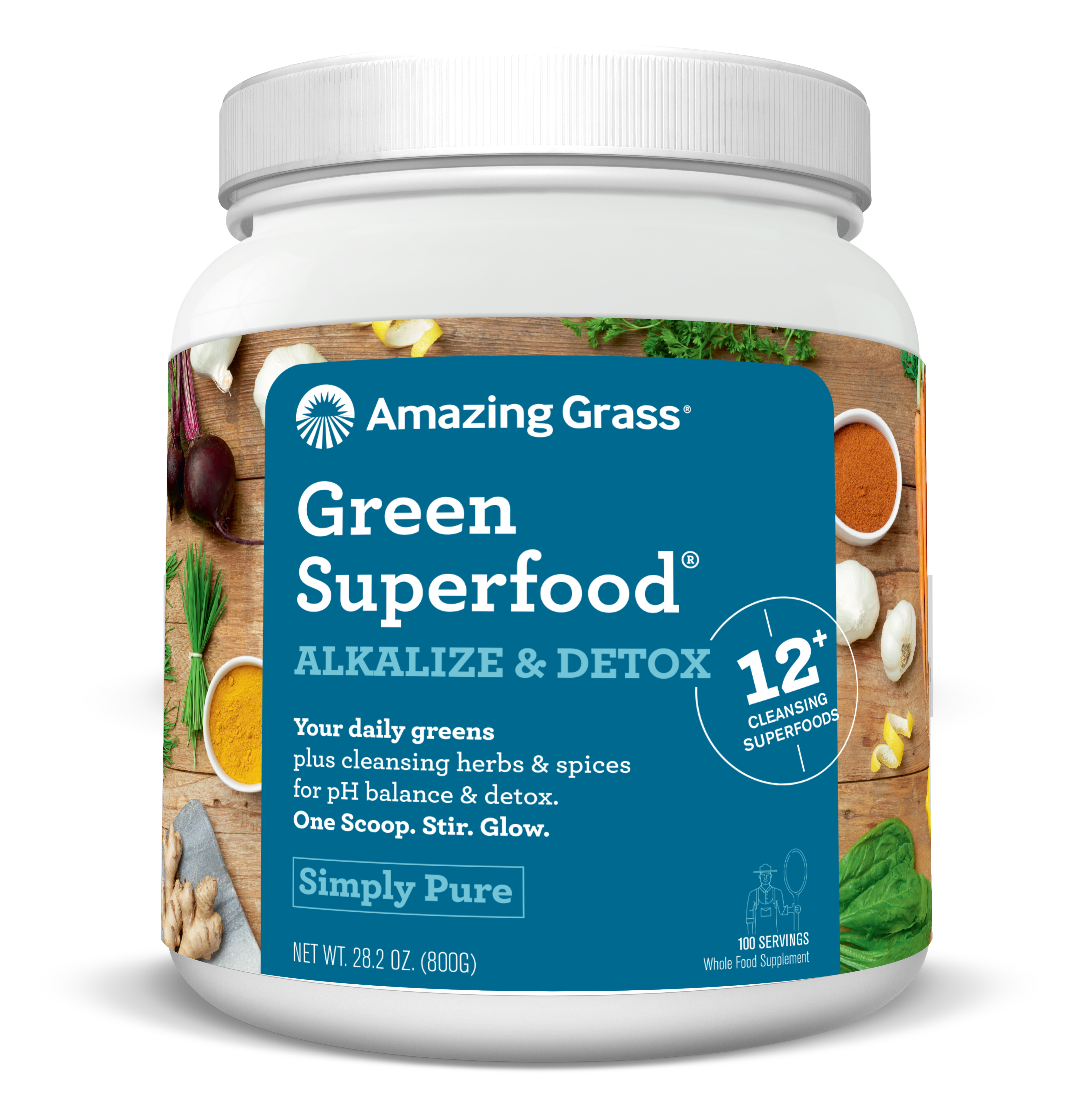 Amazing Grass Alkalize & Detox Green Superfood Powder, Simply Pure, 100 Servings