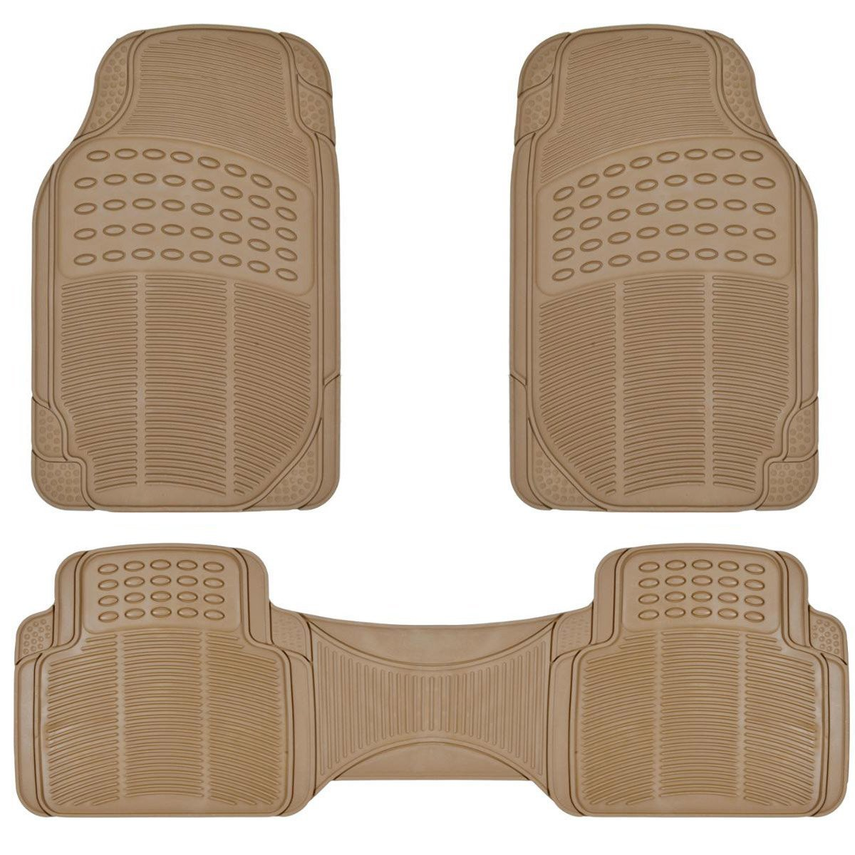 Beige All Weather 3 Piece Set Heavy Duty Rubber Auto Floor Mats Liner for Auto Car Truck SUV