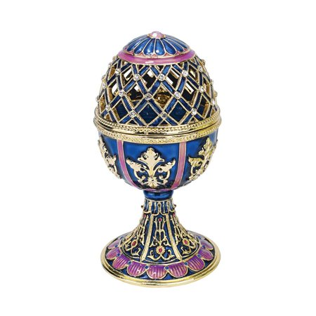 - Design Toscano Jeweled Trellis Collection Romanov Style Enameled Egg: Bleue