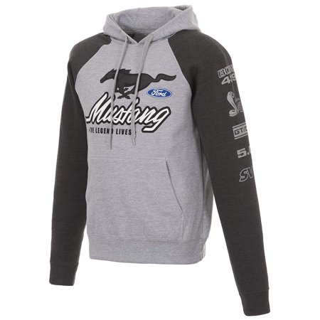 JH Design Group Men's Ford Mustang 2-Tone Gray Pullover Hoodie Front Back Sleeve Emblems ()