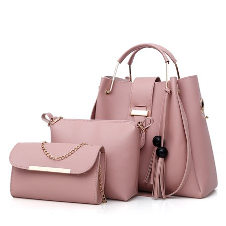 3 in 1 Woman PU Leather Handbag Crossbody Bag Chain Wallet Bag for Lady Daily Use Gift ()