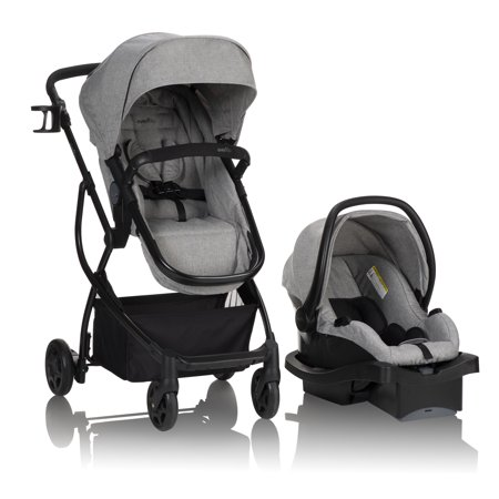 Evenflo Urbini Omni Plus Modular Travel System With LiteMax Rear-Facing Infant Car Seat, Heather Grey Via Travel System