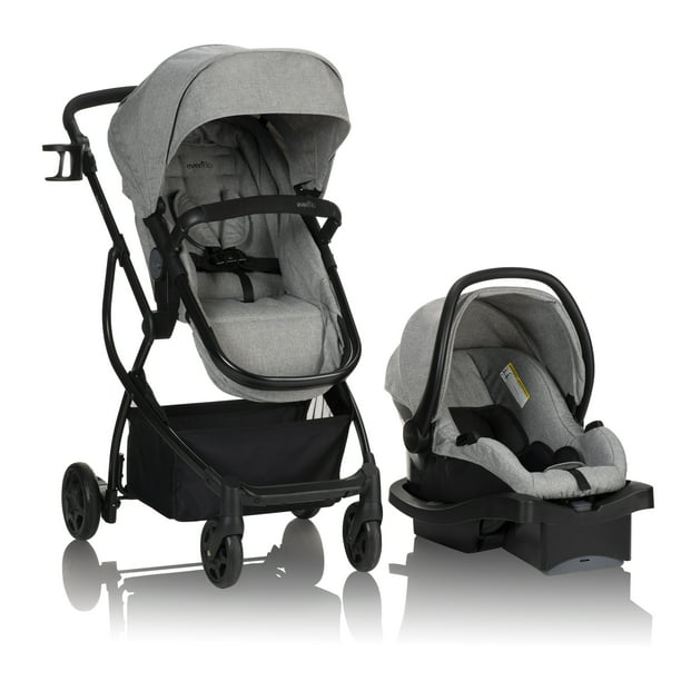 Evenflo Urbini Omni Plus Modular Travel System With LiteMax Rear-Facing Infant Car Seat, Heather Grey