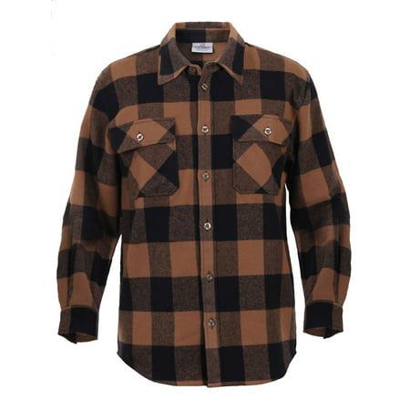 cf4b8e2fce9 Rothco Extra Heavyweight Buffalo Plaid Flannel Shirts - Brown Plaid ...