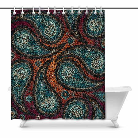 MKHERT Abstract Mosaic Geometric Paisley Digital Art Decor Waterproof Polyester Bathroom Shower Curtain Bath Decorations 66x72 inch