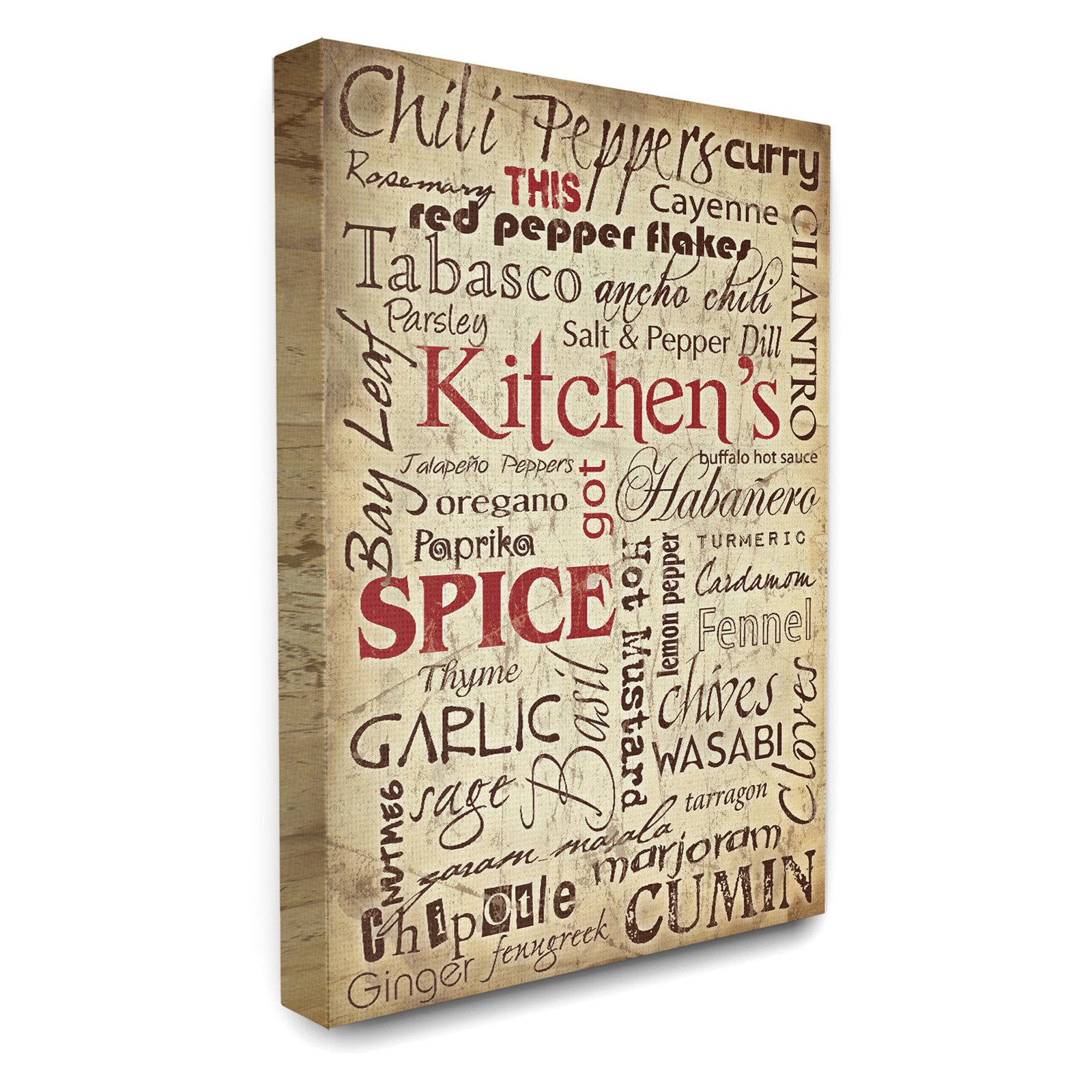 The Stupell Home Decor Collection Kitchen Spice Typography Stretched Canvas Wall Artwork,... by Stupell Industries