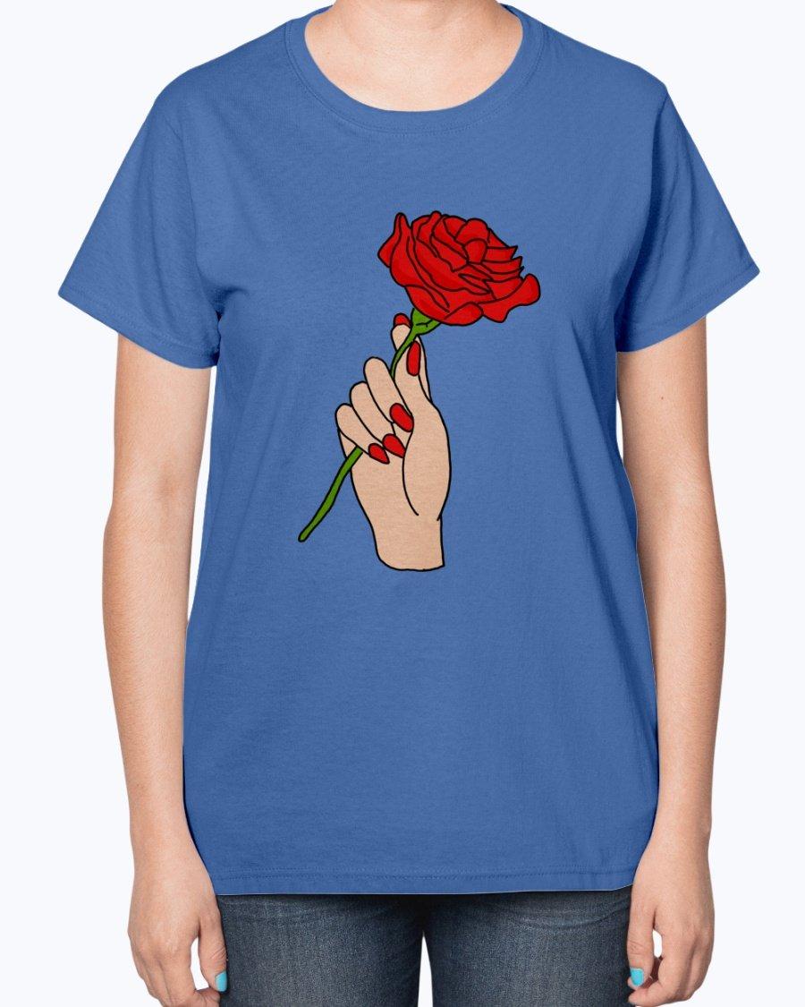 Ladies Details about  /Blue Rose T-Shirt