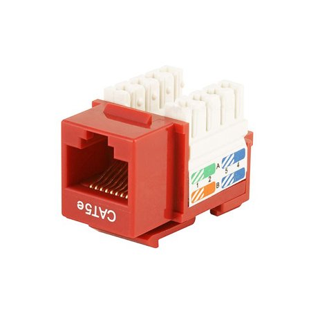 Connection Blocks 110 Punch - Monoprice Cat5E Punch Down Keystone Jack - Red | 110 Type IDC, 90 Degree Connection