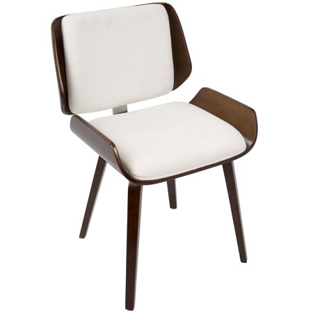 Santi Mid Century Modern Diningaccent Chair In Cherry With White