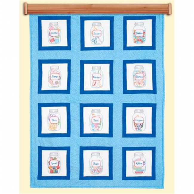 9 x 9 in. Craft Jars Themed Stamped White Quilt Blocks, 12 per Pack