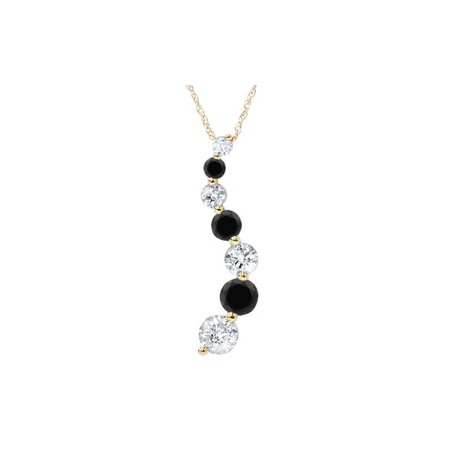 - 1/2ct Black & White Diamond Journey Pendant Yellow Gold