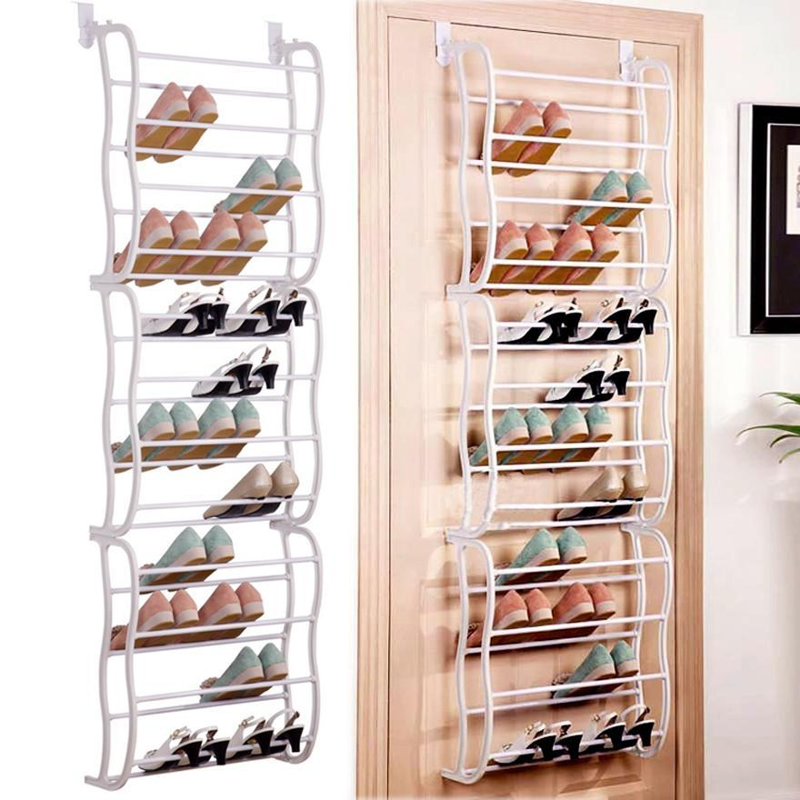 Over The Door Shoe Rack Organizer 12 Layers Fit 36 Pairs,White HITC