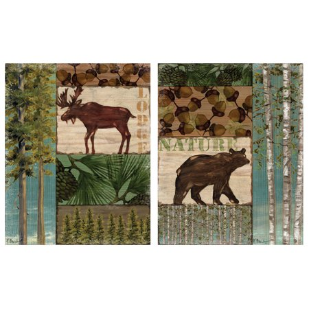 Moose Trail Lodge - Rustic Nature Trail Moose & Bear Lodge Prints; Two 11x14 Poster Print. Green/Brown