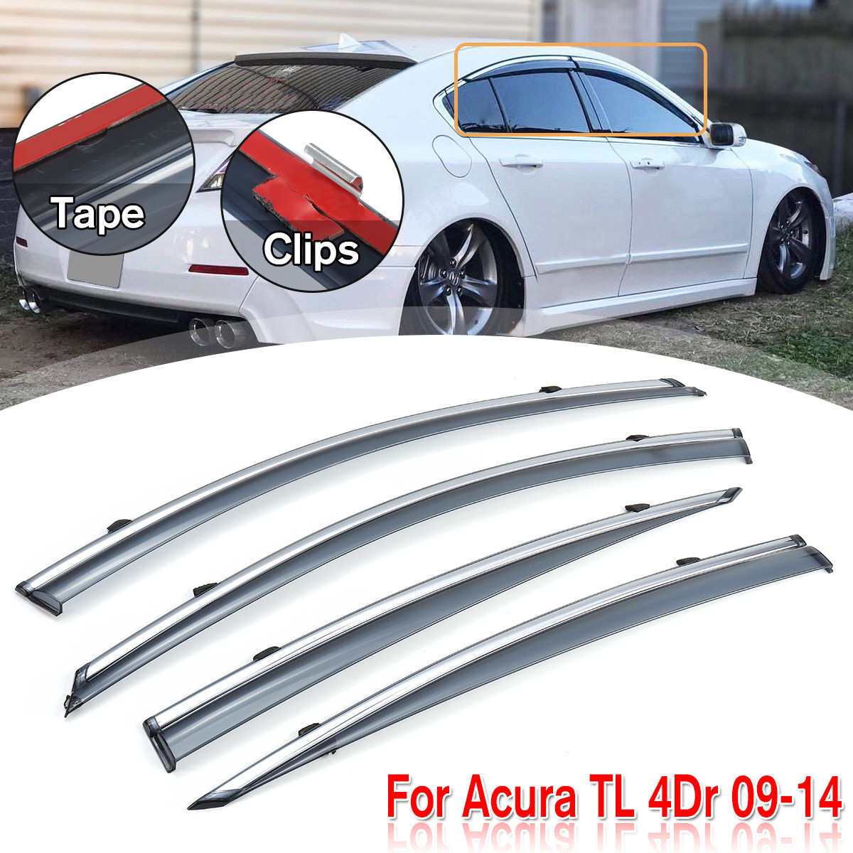 Rain Guard Vent Deflector Window Visor For Acura TL 4 Door