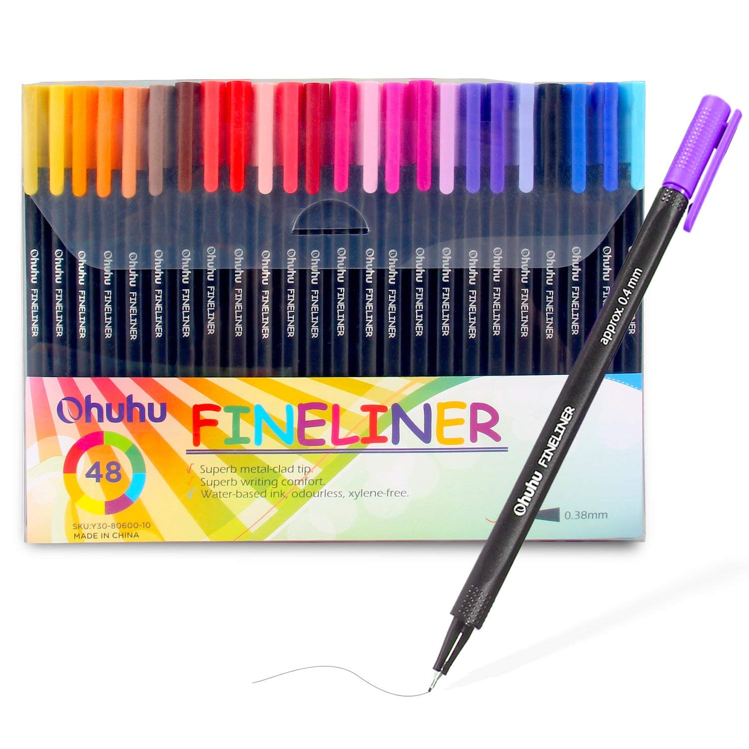 Ohuhu 48 Colors Fineliner Pens, 0.4mm Colored Fine Line Marker Marking Pen for Journal Book Sketch Drawing Fine Liner Coloring Book, Back to School Art Supplies
