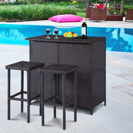 Costway 3-Piece Wicker Outdoor Patio Bar Set with Table & 2 Stools, Brown ()