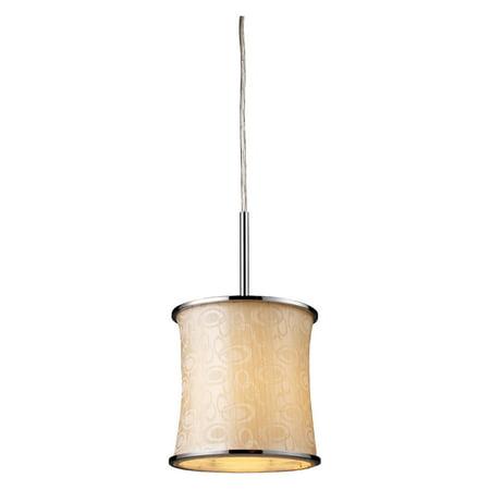 Elk Lighting Fabrique Drum Mini Pendant - 7.5W in. Chrome - Retro Beige Shade