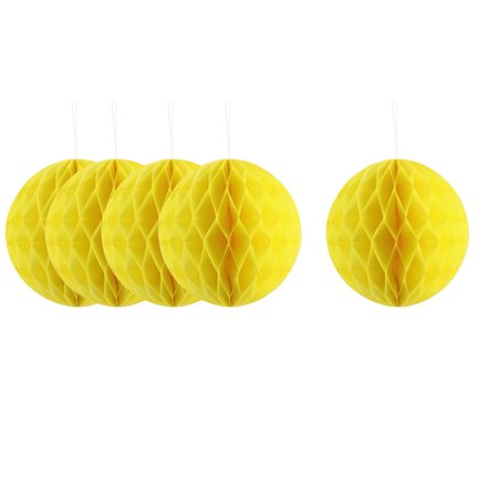 Paper Handmade DIY Hanging Decor Honeycomb Ball Lantern Yellow 8 Inches 5pcs