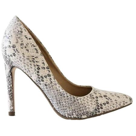 Cindy Women Pointed Toe Slip On Stiletto Heel Pumps Animal Snake Python Print
