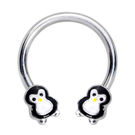 Body Candy 16G Steel Horseshoe Circular Barbell Pudgy Penguin Curved Barbell Tragus Cartilage Earring Septum Ring 5/16