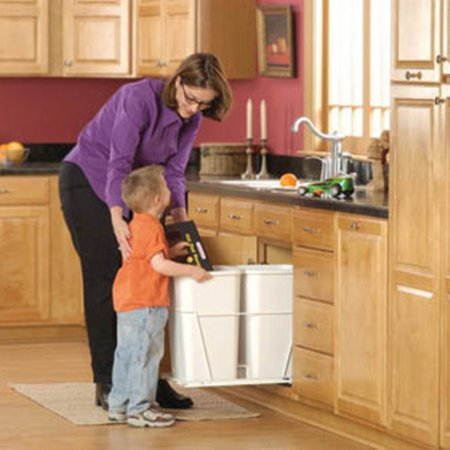 Rev-A-Shelf Double Pull Out Full Extension Slides 27 qt. Trash Can