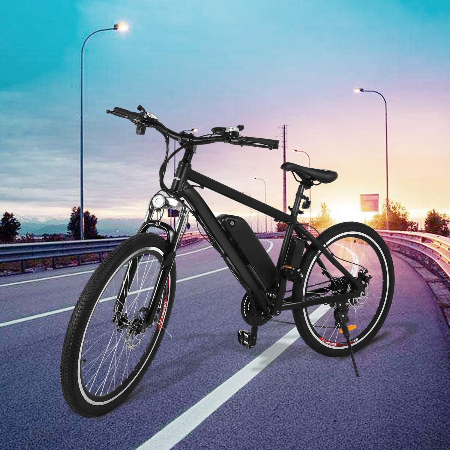 "ANCHEER Outdoor 21 Speed 36V 26""Power Plus Electric Bike,Outdoor Mountain Bike, E-Bike With LED Handlebar Display, LED Headlight"